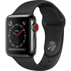 Apple Watch Series 3 38mm GPS+LTE Space Black Stainless Steel Case with Black Sport Band (MQJW2)