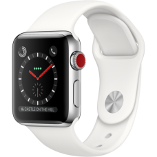 Apple Watch Series 3 38mm GPS+LTE Stainless Steel Case with Soft White Sport Band (MQJV2)