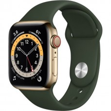 Apple Watch 6 4G 44mm Gold Stainless Steel Case w. Cyprus Green Sport B. (M07N3/M09F3)