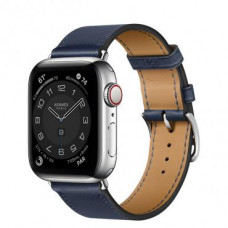 Apple Watch Hermes Series 6 LTE 40mm Silver Stainless Steel Case with Navy Swift Leather Single Tour (MG3K3 + 077051CJ7U)