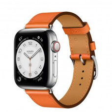Apple Watch Hermes Series 6 LTE 40mm Silver Stainless Steel Case with Orange Swift Leather Single Tour (MG3K3 + 077051CJ93)