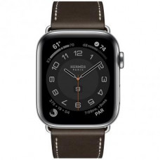 Apple Watch Hermes Series 6 LTE 44mm Silver Stainless Steel Case with Ebene Barenia Leather Single Tour Deployment Buckle (MG3G3 + 074198CJ46)