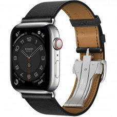 Apple Watch Hermes Series 6 LTE 44mm Silver Stainless Steel Case with Noir Swift Leather Single Tour Deployment Buckle (MG3G3 + 078782CJ89)