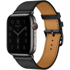 Apple Watch Hermes Series 6 LTE 44mm Space Black Stainless Steel Case with Noir Swift Leather Single Tour (MG3H3 + 078741CZ89)