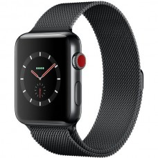 Apple Watch Series 3 38mm GPS+LTE Space Black Stainless Steel Case with Space Black Milanese Loop (MR1H2)