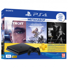 PlayStation 4 Slim 1TB + HZD + The Last of Us + Detroit + PSPlus 3М